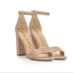 """Sam Edelman """"Yaro"""" block sandal heel in nude"""